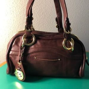 B. Makiwsky Brown Leather Shoulder Bag